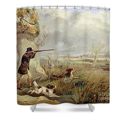 Duck Shooting  Shower Curtain by Henry Thomas Alken