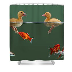 Ducklings And Goldfish Shower Curtain by Jane Burton