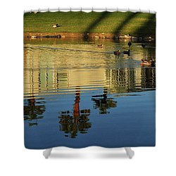 Ducks And Palms Shower Curtain by Diane Lent