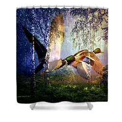 Ducks Flying To The Lake Shower Curtain