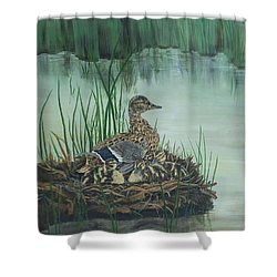 Ducks In Lifting Fog Shower Curtain