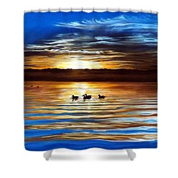 Ducks On Clear Lake Shower Curtain