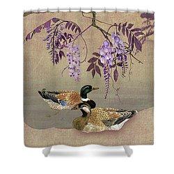 Ducks Under Wisteria Tree Shower Curtain