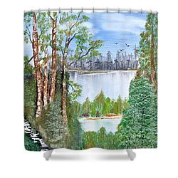Dueling Lakes Shower Curtain