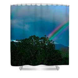 Dueling Rainbows Shower Curtain by DigiArt Diaries by Vicky B Fuller