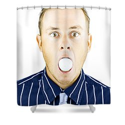 Dumbfounded Man Silenced By A Golf Ball Shower Curtain by Jorgo Photography - Wall Art Gallery