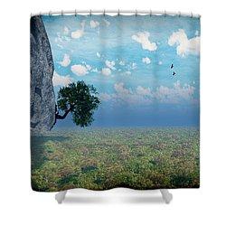 Shower Curtain featuring the digital art Dun Dun Dun...it's A Cliffhanger... by Tim Fillingim