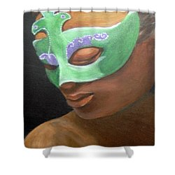 Shower Curtain featuring the painting Dunbar's Mask by Saundra Johnson