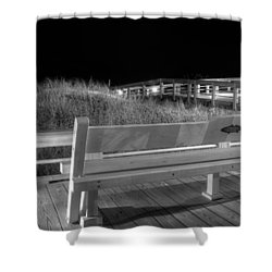 Dune Bench At Night In Black And White Shower Curtain