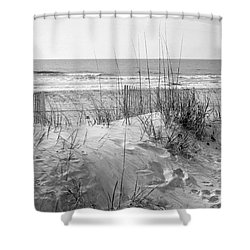Dune - Black And White Shower Curtain by Angela Rath