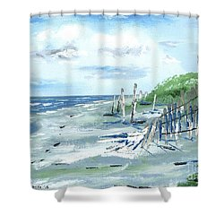 Dune Fences Isle Of Palms Shower Curtain