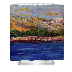 Shower Curtain featuring the painting Dunes At Pilgrim Lake by Michael Helfen