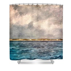 Dunes Of Lake Michigan With Rough Seas Shower Curtain