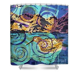 Dunlin On Mudflats Shower Curtain