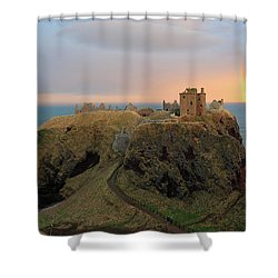 Shower Curtain featuring the photograph Dunnottar Castle Sunset Rainbow by Grant Glendinning
