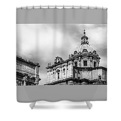 Duomo Of Santi Luca E Martina And Arch Of Septimius Severus  Shower Curtain