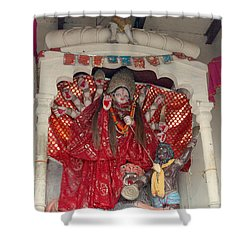 Durga On The Yamuna, Vrindavan Shower Curtain by Jennifer Mazzucco