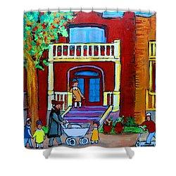 Durocher Street Montreal Shower Curtain by Carole Spandau
