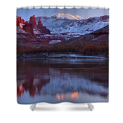 Shower Curtain featuring the photograph Dusk At Fisher Towers by Adam Jewell