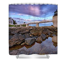 Shower Curtain featuring the photograph Dusk At Marshall Point by Rick Berk