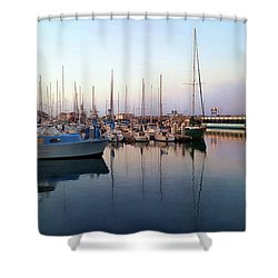 Dusk At Old Fisherman's Wharf Shower Curtain by Gina Savage
