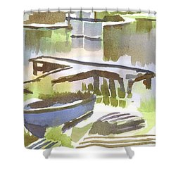 Dusk At The Boat Dock Shower Curtain by Kip DeVore