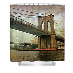 Dusk At The Bridge Shower Curtain by Diana Angstadt