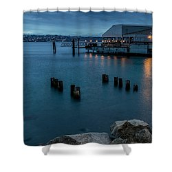 Shower Curtain featuring the photograph Dusk Falls Over The Lobster Shop by Rob Green