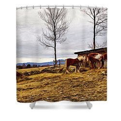 Dusk Feeding On The Farm Shower Curtain