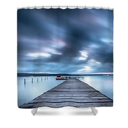Dusk In Blue Satin Shower Curtain by Evgeni Dinev