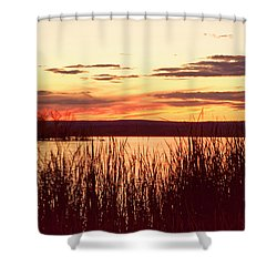 dusk on Lake Superior Shower Curtain