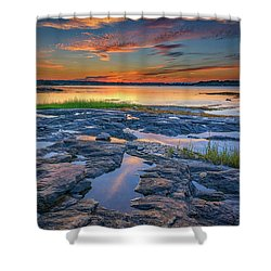 Shower Curtain featuring the photograph Dusk On Littlejohn Island by Rick Berk