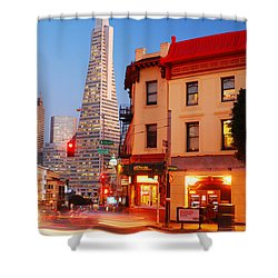 Dusk On San Francisco Shower Curtain by James Kirkikis