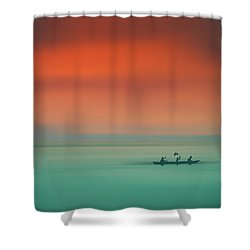 Dusk On The Lake Shower Curtain by Marji Lang