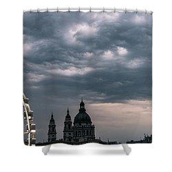 Shower Curtain featuring the photograph Dusk Over Budapest by Alex Lapidus