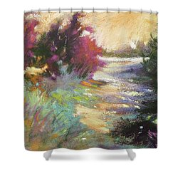Dusk Over The Marshes Shower Curtain by Rae Andrews
