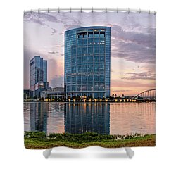 Dusk Panorama Of The Woodlands Waterway And Anadarko Petroleum Towers - The Woodlands Texas Shower Curtain