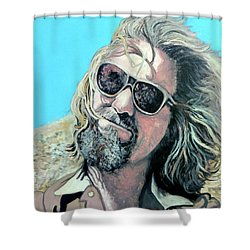 Shower Curtain featuring the painting Dusted By Donny by Tom Roderick