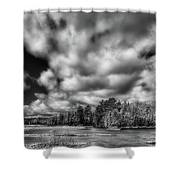 Shower Curtain featuring the photograph Dusting Of Snow On The River by David Patterson