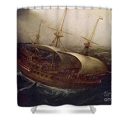 Dutch Battleship In A Storm Shower Curtain by Hendrick Cornelisz Vroom