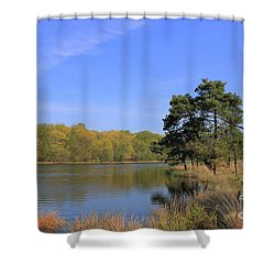 Dutch Countryside With Lakes, Trees, Meadows Shower Curtain