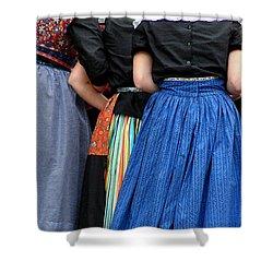 Dutch Dancers In A Huddle Shower Curtain by Michelle Calkins
