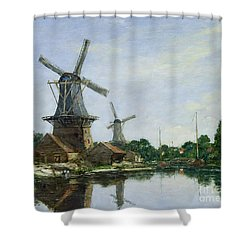 Dutch Windmills Shower Curtain by Eugene Louis Boudin