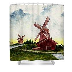 Dutch Windmills Shower Curtain by Michael Vigliotti