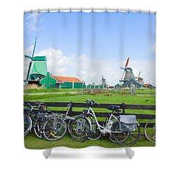 dutch windmills with bikes in Zaanse Schans Shower Curtain