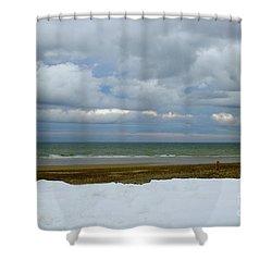 Duxbury Beach 3rd Crossover Shower Curtain by Amazing Jules