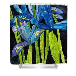 Dwarf Iris Watercolor On Yupo Shower Curtain