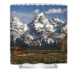 Dwarfed By The Teton Mountain Ange Shower Curtain by Adam Jewell