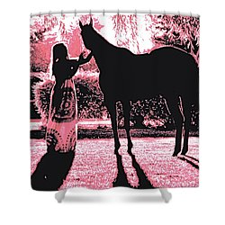 Dylly And Lizzy Pink Shower Curtain by Valerie Rosen