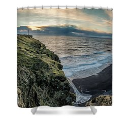 Shower Curtain featuring the photograph Dyrholaey Light House by Allen Biedrzycki